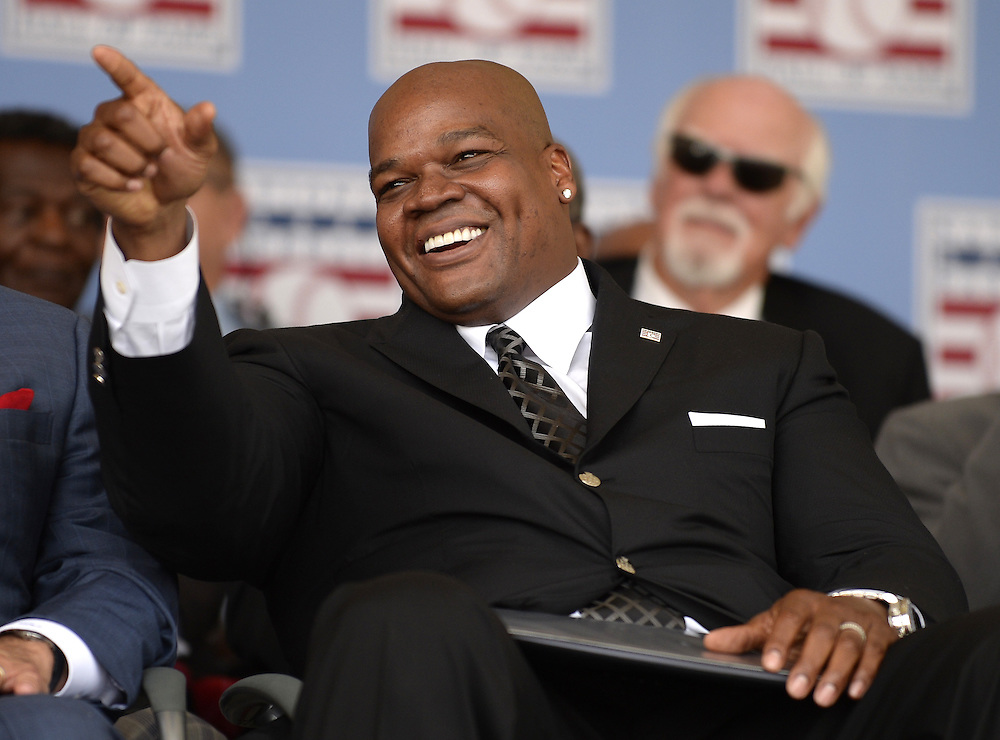 COOPERSTOWN, NY - JULY 27:  2014 Baseball Hall of Famer inductee Frank Thomas acknowledges family and friends during the 2014 induction ceremonies held at the Clark Sports Center in Cooperstown, New York on July 27 2014.