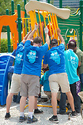 Building a playground in one day for the Lighthouse for the Blind with the KaBoom organization and Blue Cross Blue Shield.