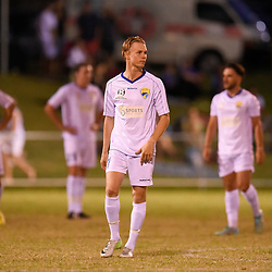 BRISBANE, AUSTRALIA - FEBRUARY 10: Rees Duncan of United looks on during the NPL Queensland Senior Mens Round 2 match between Gold Coast United and Brisbane Roar Youth at Station Reserve on February 10, 2018 in Brisbane, Australia. (Photo by Football Click / Patrick Kearney)
