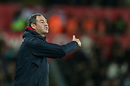 Paul Clement, the Swansea city manager, instructing his players from the touchline.  EFL Carabao Cup 4th round match, Swansea city v Manchester Utd at the Liberty Stadium in Swansea, South Wales on Tuesday 24th October 2017.<br /> pic by  Andrew Orchard, Andrew Orchard sports photography.
