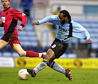 Photo: Greig Cowie<br />Nationwide League Division 1. Coventry v Wimbledon. 08/03/2003<br />Julian Joachim slots home coventry's second