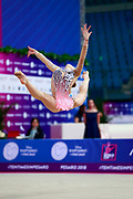 Salos Anastasiia during qualifying at ball in Pesaro World Cup at Adriatic Arena on April 13, 2018. Anastasiia born on February 18 ,2002 in Barnaul. She is a rhythmic gymnast member of the Belarusian National Team.
