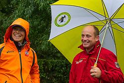 Tim Lips (NED) - Michael Jung (GER)<br /> Floated fences at the 'Mondial du Lion 2012'<br /> Mondial du Lion 2012 - Le Lion d'Angers 2012<br /> © Dirk Caremans