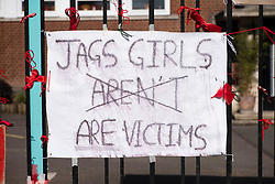 © Licensed to London News Pictures. 29/03/2021. London, UK. Photos shows posters and ribbons on fencing outside James Allen's Girls School, Dulwich, London. Students at the school have said they have been victim to predatory sexual behaviour by pupils at nearby Dulwich College. Photo credit: Ray Tang/LNP