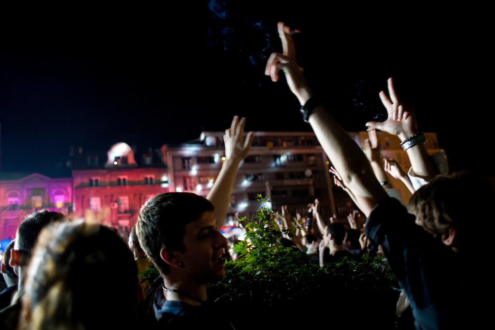 Scenes from public showing of Eurovision at Belgrade City Hall. Youth showing the nationalistic Serb hand signal of three-fingers.
