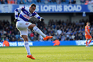 Queens Park Rangers Ravel Morrison takes a shot .Skybet football league championship match , Queens Park Rangers v Blackpool at Loftus Road in London  on Saturday 29th March 2014.<br /> pic by John Fletcher, Andrew Orchard sports photography.