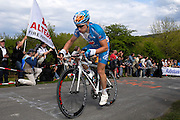 Belgium, Liege - Sunday, April 26, 2009: With less than 1km to go to the summit, Cyril Gautier (Bbox Bouygues Telecom) led the race up the Côte de la Redoute during the Liège-Bastogne-Liège cycle race.(Image by Peter Horrell / http://peterhorrell.com)