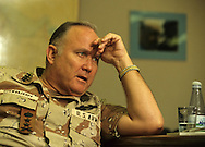 General Norman Schwarzkoph during an interview for a TIME magazine cover story.  The ionterview took place in the general's office  twelve stories down in the command bunker in Riyadh, Saudi Arabia..Photo by Dennis Brackbb 24
