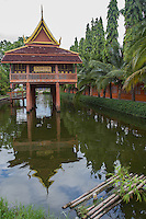 The Ho Trai at Wat Ku Yang is a small wooden library on stilts perched over and surrounded by water.  Its purpose was to protect books and scriptures against termites, cockroaches and rats limiting damage to the sacred writings, especially the sacred Tipitaka scriptures as well as valuable artifacts.