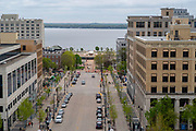 High angle view of Madison, Wisconsin, Martin Luther King Boulevard and the Monona Terrace Convention Center, taken from the Wisconsin State Capitol Observation Deck.