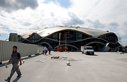 Basketball arena. A week before the opening of a new football stadium and sports arena in Stozice, on August 4, 2010, in Stozice, Ljubljana, Slovenia.  (Photo by Vid Ponikvar / Sportida)
