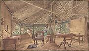 Two European Men in an African Hut unknown painter