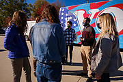28 OCTOBER 2020 - DES MOINES, IOWA: People at a Get Out the Vote event at Drake University. Rep. Axne hosted a Get Out the Vote event at Drake University Wednesday morning. Axne, a Democrat, represents Iowa's 3rd District, from the southwest corner of the state up through the Des Moines area. She is in a tight race for reelection with David Young, the Republican she defeated in 2018.    PHOTO BY JACK KURTZ