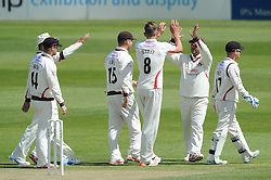Tom Bailey celebrates with team mates as Gareth Roderick of Gloucestershire is caught by Paul Horton for 0 - Photo mandatory by-line: Dougie Allward/JMP - Mobile: 07966 386802 - 08/06/2015 - SPORT - Football - Bristol - County Ground - Gloucestershire Cricket v Lancashire Cricket Day 2 - LV= County Championship