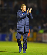 AFC Wimbledon manager Neal Ardley applauds the travelling fans at full time after Wimbledon lost 2-0 to Bristol Rovers during the EFL Sky Bet League 1 match between Bristol Rovers and AFC Wimbledon at the Memorial Stadium, Bristol, England on 23 October 2018.