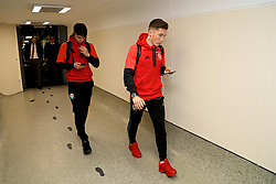 DUBLIN, REPUBLIC OF IRELAND - Thursday, March 23, 2017: Wales' Ben Woodburn and Harry Wilson arrive at Dublin Airport ahead of the 2018 FIFA World Cup Qualifying Group D match against Republic of Ireland. (Pic by David Rawcliffe/Propaganda)