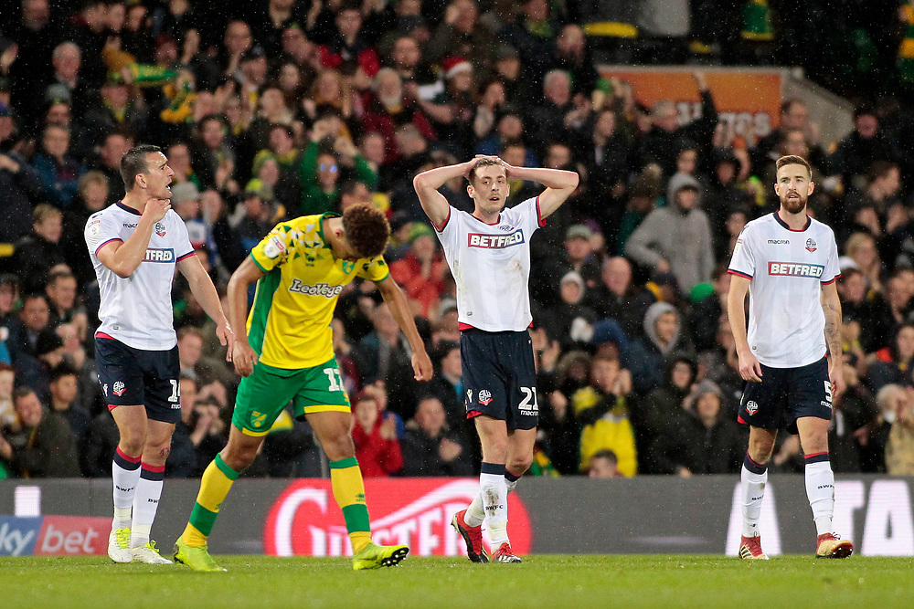 Bolton Wanderers' Joe Williams shows his dejection as Norwich City go 1-0 ahead<br /> <br /> Photographer David Shipman/CameraSport<br /> <br /> The EFL Sky Bet Championship - Norwich City v Bolton Wanderers - Saturday 8th December 2018 - Carrow Road - Norwich<br /> <br /> World Copyright © 2018 CameraSport. All rights reserved. 43 Linden Ave. Countesthorpe. Leicester. England. LE8 5PG - Tel: +44 (0) 116 277 4147 - admin@camerasport.com - www.camerasport.com