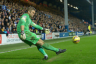 Goalkeeper Robert Green of Queens Park Rangers taking a free kick. Barclays Premier league match, Queens Park Rangers v Leicester city at Loftus Road in London on Saturday 29th November 2014.<br /> pic by John Patrick Fletcher, Andrew Orchard sports photography.