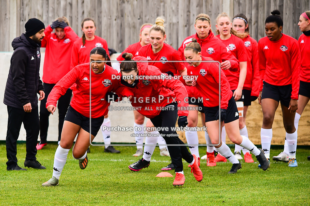 Crayford | England  | 07 March 2021 | The Oakwood<br /> <br /> Lewes players warms up before kick off<br /> <br /> Charlton v Lewes<br /> <br /> The FA Women's Championship<br /> <br /> (Photo: © Jon Hilliger / HilligerPix)