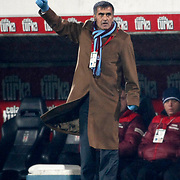 Trabzonspor's coach Senol GUNES during their Turkish Superleague Derby match Besiktas between Trabzonspor at the Inonu Stadium at Dolmabahce in Istanbul Turkey on Sunday, 06 March 2011. Photo by TURKPIX