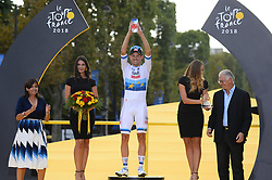 Norway's Alexander Kristoff holds his trophy as he celebrates on the podium after winning the 21st and last stage of the 105th edition of the Tour de France cycling race between Houilles and Paris Champs-Elysees, in Paris, France, on July 29, 2018. Photo by Eliot Blondet/ABACAPRESS.COM
