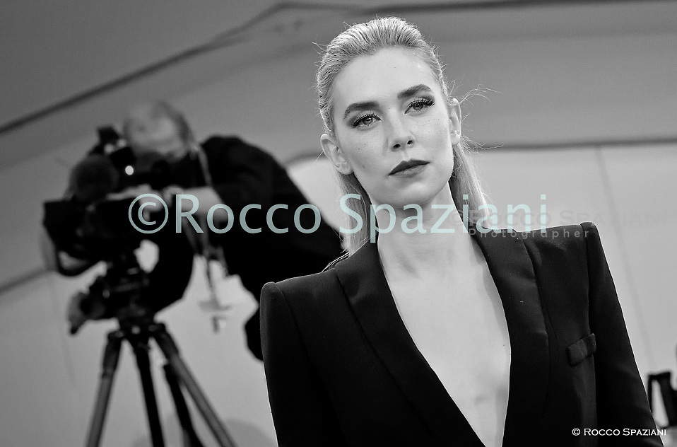 """VENICE, ITALY - SEPTEMBER 06:Vanessa Kirby walks the red carpet ahead of the movie """"The World To Come"""" at the 77th Venice Film Festival on September 06, 2020 in Venice, Italy.<br /> (Photo by Rocco Spaziani)"""