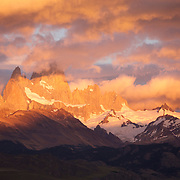 Early morning sunrise on Monte Fitz Roy (also known as Cerro Chaltén, Cerro Fitz Roy). This mountain is located near the El Chaltén village in southern Patagonia on the border between Argentina and Chile. South America