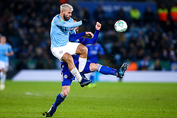 Sergio Aguero of Manchester City challenges Christian Fuchs of Leicester City - Mandatory by-line: Robbie Stephenson/JMP - 18/12/2018 - FOOTBALL - King Power Stadium - Leicester, England - Leicester City v Manchester City - Carabao Cup Quarter Finals
