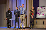 Purchase, NY – 31 October 2014. Part of the team from Woodlands High School. (Left to right: Chrisopher Larrow, Miles Jackson, Kyle Smith, Kaltrina Celaj.) Woodlands High School went on to place second in the 2014 competition. The Business Skills Olympics was founded by the African American Men of Westchester, is sponsored and facilitated by Morgan Stanley, and is open to high school teams in Westchester County.