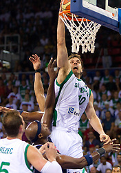 Bostjan Nachbar of Slovenia during to the Preliminary Round - Group B basketball match between National teams of USA and Slovenia at 2010 FIBA World Championships on August 29, 2010 at Abdi Ipekci Arena in Istanbul, Turkey.  (Photo by Vid Ponikvar / Sportida)