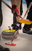 """Glasgow. SCOTLAND.  Sweeping,during a """"Round Robin"""" Game. Le Gruyère European Curling Championships. 2016 Venue, Braehead  Scotland<br /> Tuesday  22/11/2016<br /> <br /> [Mandatory Credit; Peter Spurrier/Intersport-images]"""