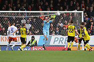 Burton Albion goalkeeper Stephen Bywater makes an easy save during the EFL Sky Bet League 1 match between Burton Albion and Luton Town at the Pirelli Stadium, Burton upon Trent, England on 27 April 2019.