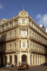 Restored ancient building in Havana Vieja; Cuba; now the Hotel Plaza,