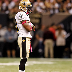 October 3, 2010; New Orleans, LA, USA; New Orleans Saints cornerback Tracy Porter (22) celebrates after a defensive stop during the second half against the Carolina Panthers at the Louisiana Superdome. The Saints defeated the Panthers 16-14. Mandatory Credit: Derick E. Hingle