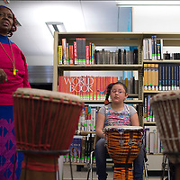 020715      Cayla Nimmo<br /> <br /> Camilla Dodsen lead an interactive performance on African drums at Octavia Fellin Public Library Children's branch Saturday afternoon.