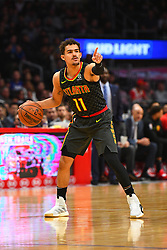 January 29, 2019 - Los Angeles, CA, U.S. - LOS ANGELES, CA - JANUARY 28: Atlanta Hawks Guard Trae Young (11) sets up the offense during a NBA game between the Atlanta Hawks and the Los Angeles Clippers on January 28, 2019 at STAPLES Center in Los Angeles, CA. (Photo by Brian Rothmuller/Icon Sportswire) (Credit Image: © Brian Rothmuller/Icon SMI via ZUMA Press)