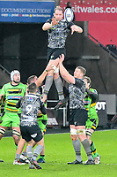 Rugby - 2017 / 2018 European Rugby Champions Cup - Pool Two: Ospreys vs. Northampton Saints<br /> <br /> Alun Wyn Jones (Capt) of Ospreys leaps to catch the ball at a lineout, at the Liberty Stadium.<br /> <br /> COLORSPORT/WINSTON BYNORTH
