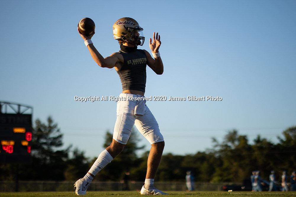 The Saint Augustine yellow jackets defeated the Ponte Vedra sharks in a high school football game at St Augustine high school in St. Augustine, Florida on Friday, October 30, 2020. (Copyright 2020 James Gilbert Photo)