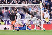 Real Madrid's Marco Asensio, Marcelo and Alvaro Morata  celebrating a goal during La Liga match between Real Madrid and Valencia CF at Santiago Bernabeu Stadium in Madrid, April 29, 2017. Spain.<br /> (ALTERPHOTOS/BorjaB.Hojas)