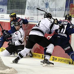 50 Thomas Pielmeier (Spieler ERC Ingolstadt), 61 David Elsner (Spieler ERC Ingolstadt), 8 Marco Nowak (Spieler Thomas Sabo Ice Tigers) und 23 Sasa Martinovic (Spieler Thomas Sabo Ice Tigers) beim Spiel in der DEL, ERC Ingolstadt (blau) - Nuenrberg Ice Tigers (weiss).<br /> <br /> Foto © PIX-Sportfotos *** Foto ist honorarpflichtig! *** Auf Anfrage in hoeherer Qualitaet/Aufloesung. Belegexemplar erbeten. Veroeffentlichung ausschliesslich fuer journalistisch-publizistische Zwecke. For editorial use only.