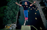 Gorky Park, Moscow, Russia..The Maxim Gorky Central Park of Culture and Rest was the first such park in the Soviet Union, and it remains the largest in Russia; some 10 million people visit each year. Bungee jumping over one of the park lakes.