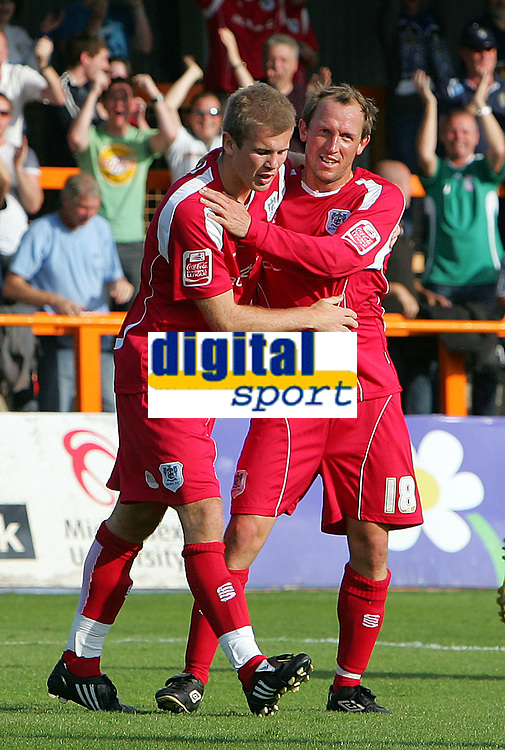 Fotball<br /> England<br /> Foto: Fotosports/Digitalsport<br /> NORWAY ONLY<br /> <br /> Barnet FC vs Bury FC Coca-Cola League 2 20/09/08<br /> <br /> Bury strikers Andy Bishop and Andy Morrell celebrate Bury's 1st goal by Bishop..