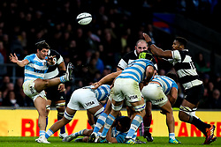 Tomas Cubelli of Argentina kicks the ball from a ruck - Mandatory by-line: Robbie Stephenson/JMP - 01/12/2018 - RUGBY - Twickenham Stadium - London, England - Barbarians v Argentina - Killick Cup