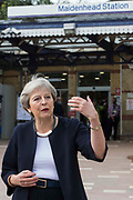 Theresa May, Conservative MP for Maidenhead, speaks on the occasion of the official opening of a new station forecourt on 11th October 2021 in Maidenhead, United Kingdom. The £3.75m refurbishment is intended to make the area around the station more commuter-friendly in anticipation of an increase in passengers when Crossrail opens and to improve both the interchange between trains and other forms of transport and walking and cycling links between the station and the town centre.