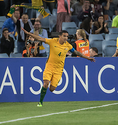 SYDNEY, Oct. 10, 2017  Tim Cahill of Australia celebrates scoring during the FIFA World Cup 2018 Qualifiers Asian Playoff match between Australia and Syria at Sydney Olympic Stadium in Sydney, Australia, Oct. 10, 2017. Australia won 2-1. (Credit Image: © Zhu Hongye/Xinhua via ZUMA Wire)