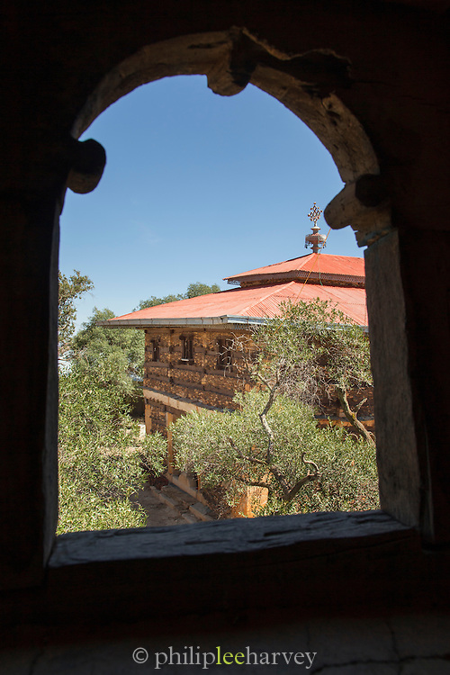 Debre Damo Church as seen from the bell Tower. Debre Damo, West of Adigrat, Tigray Region. Ethiopia, Horn of Africa