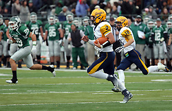 18 October 2014:  Sam Frasco runs the option during an NCAA division 3 football game between the Augustana Vikings and the Illinois Wesleyan Titans in Tucci Stadium on Wilder Field, Bloomington IL
