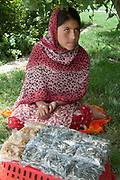 Afghanistan. Kabul. Bagh-e-Babur gardens. Hanifa selling sunflower seeds and bombay mix.