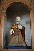 Low angle view of statue in Church of Vilupulli, Chiloe Island, Chile