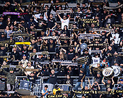 LAFC fans hold scarves during a MLS soccer match against the Sporting KC in Los Angeles, Sunday, March 3, 2019. LAFC defeated Sporting KC, 2-1. (Ed Ruvalcaba/Image of Sport)
